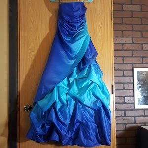 Deep/Aqua Blue Ombre Prom Dress
